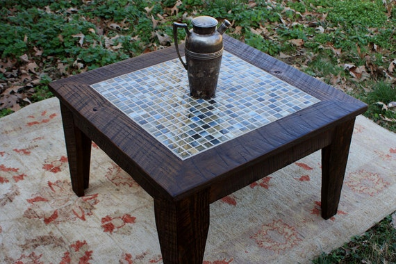 Small Coffee Table. Mosaic Tile Coffee Table. Apartment Size