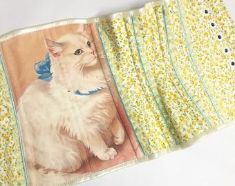 Cat Lady Yellow Floral Steel Boned Underbust Corset - Pick Your Size - Handmade Vegan Bridal