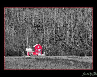 Old Farm House Scene Black & White Photo, Old Barn, Old Farmhouse, Old House,Rustic Scene, Rural Landscape Photo