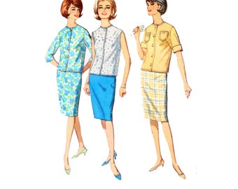 60s Pencil Skirt pattern Two Piece Dress pattern Slim Skirt pattern vintage 40-32-42 Waist 32 Simplicity 4885