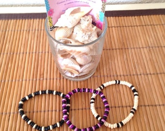 Lot de 3 bracelets estivales pour enfant, noir, blanc, rose, fuchsia