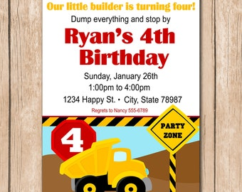 Dump Truck Birthday Invitation - Construction - 1.00 each printed