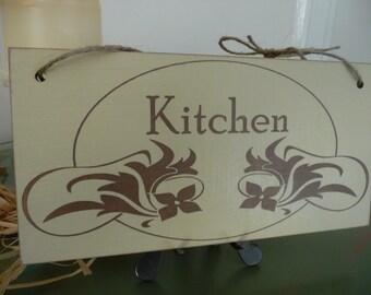 Kitchen Sign, Distressed Kitchen Sign, Art Nouveau Wall Decor, Wooden Sign, Kitchen Plaque
