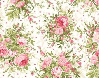 Pink Roses Fabric, Cottage Chic Roses Quilt Fabric, Maywood Studio Heather MAS 8390 E Jennifer Bosworth,  Shabby Pink Floral Cotton Yardage