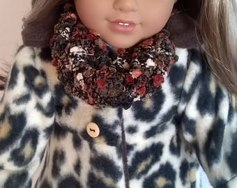 Leopard Fleece Coat for your 18 inch doll - handmade 18 inch doll clothes