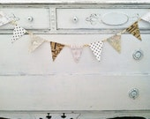 Steampunk Party Bunting Polka Dot Skeleton Key Music Note Map 9 Flags Gold Braid Pennants Shabby Room Decor Wall Hanging Steampunk Wedding