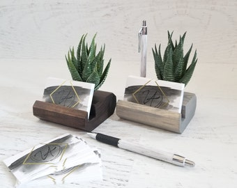 Wood Pen and Business Card Holder, Desk Accessories, Desk Organizer, Office Gift, Office Decor, Minimalist Office, Succulent Decor,