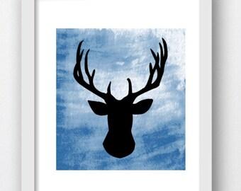 Deer Silhouette, Deer Print, Deer Wall Art, Blue Wall Prints, Woodland Prints, Woodland Art Prints, Boho Deer Print, Boho Wall Print