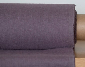 Pure 100% LINEN FABRIC Dirty purple medium weight  linen fabric  specifically washed from the manufacturing process  Linen fabric by yard