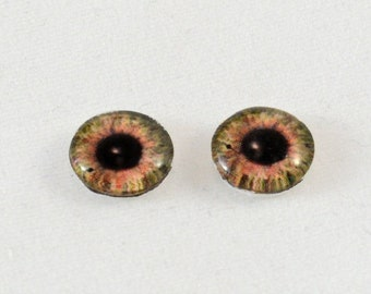 SALE 10mm Brown Glass Doll Eye Cabochons - Evil Eyes for Jewelry Making or Sculpttures - Set of 2