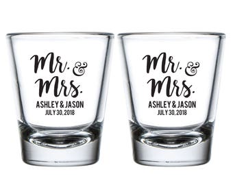 Mr and Mrs Wedding Shot Glasses, Mr. and Mrs. Personalized Shot Glasses Wedding Favors, Custom Mr. and Mrs. Shot Glasses for Weddings (113)