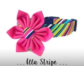 Colorful Stripe Dog Collar Flower Set; Hot Pink Dog Flower and Collar: Ella Stripe in Pink
