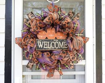 Halloween Lighted Pumpkin Welcome Deco Mesh Wreath
