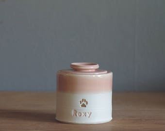 small urn with lid. straight shaped urn with paw stamp optional. modern simple urn for ashes. funerary urn. peach /porcelain with gold shown