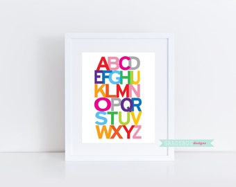 ABC Digital Art Printable Wall Decor Nursery Print Alphabet Print 8x10 instant download