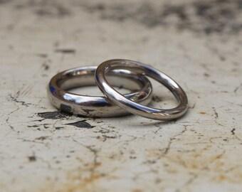 Palladium wedding band set, palladium ring set