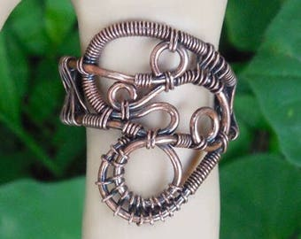 Copper wire wrapped ring, wire ring size 8, unique boho rings, wire wrapped ring size 8, wire wrapped jewelry, bohemian jewelry