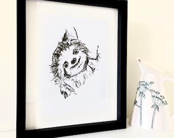 Sloth pen sketch print (framed)