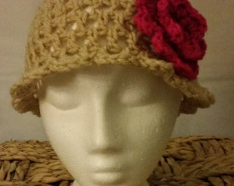 Flapper Hat, Crocheted Hat, with Detachable Flower