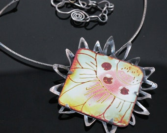 Ba-Bloom-Handmade Enamel and Sterling Silver Necklace