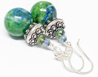 Azurite, Green Apatite, and Spectrolite Gemstone . Sterling Silver Dangle Drop Earrings . Vibrant Green, Bright Blue . E15028