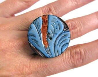 Blue Swirls Western Tooled Leather Ring, Size 8, Eco Friendly, OOAK, Reclaimed, Unique, Statement Ring, Recycled Leather Belt