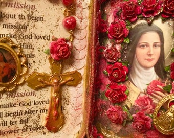 Reserved! St. Therese Lisieux Assemblage Shrine Altered Shrine Pocket Shrine Travel Shrine Mixed Media Shrine Altoid Tin