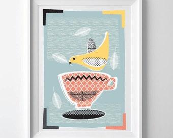 Modern Kitchen Art Print, Mid Century Inspired Print, Lovebirds & Teacups