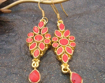 Valentines Day GIFT 925 Sterling Silver Red Onyx Gold Plated Dangle Drops Earrings
