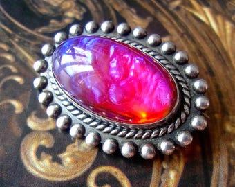Dragons Breath Opal Sterling Silver Brooch-Pin, Oval, Vintage