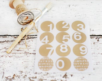 Number Stickers  - Set of 12, circle stickers, round sticker, envelope seals, packaging, advent calendar, birthdays, paper goods