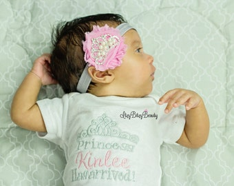 The Princess Has Arrived - Baby Girls Coming Home Outfit - Princess Tiara Outfit - Newborn Girls Set - Personalized Baby Girl - Headband