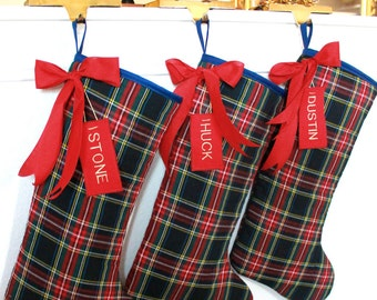 Set of 3 Rustic Christmas Stockings, family stockings, plaid Christmas Stockings, classic stockings