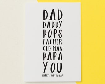 "Card for Dad - Dad Birthday Card - Fathers Day Card - Personalised Dad Card - ""Dad's Names"" Card - Happy Birthday or Happy Father's Day"