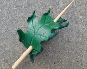 Summer Oak Leather Leaf Hair Stick Barrette or Shawl Pin - Woodland Hair Accessory, Hunter Green, Small Hair Slide or Shawl Clasp