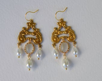 White and gold Victorian earrings