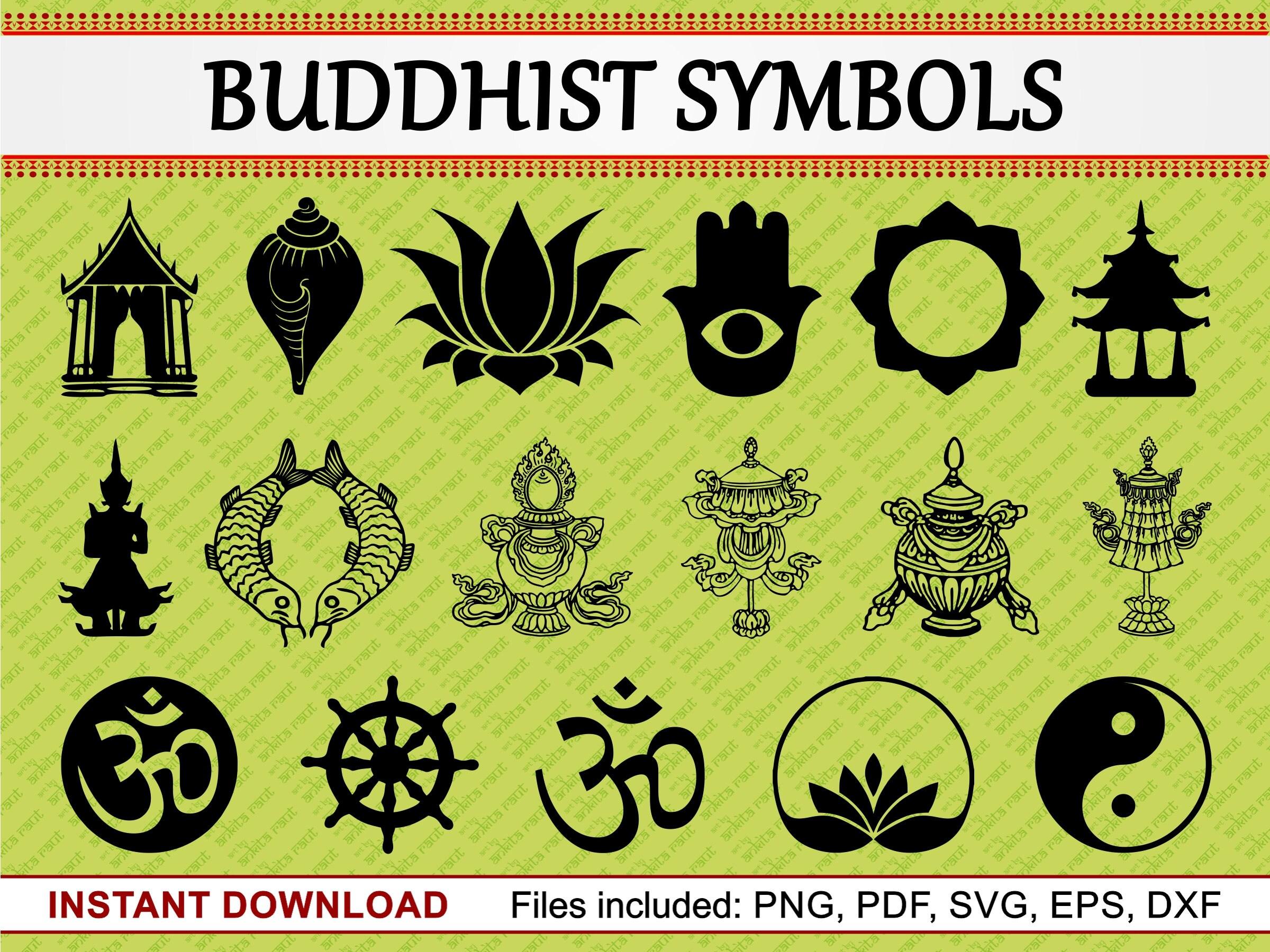 Buddhist symbols set of 17 commercial use clipart vase om zoom biocorpaavc