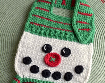 Crochet pattern Snowman Baby Bib Drool Bib Spit Bib Burp Bib Food Bib for Christmas babies and toddlers shower gift INSTANT pdf DOWNLOAD