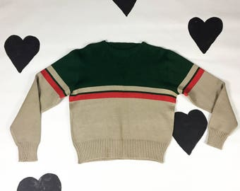 1940s / 40s Jantzen Men's Sweater / Green / Tan / Red / Striped / Racing Stripe / Vintage Knits / Menswear / 44 / Ribbed V /  Ski / Large