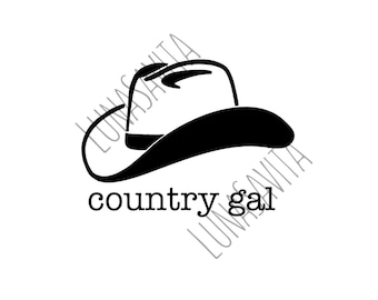 Country Gal Design SVG, DXF Files for Cricut Design Space, Silhouette Studio, Die Cut Machines, Instant Download of svg, dxf, & jpg