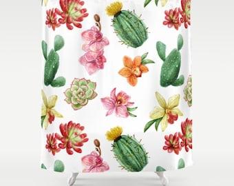 Watercolor Cactus Shower Curtain, Cactus Curtain, Watercolor Cactus Curtain, Bohemian Shower Curtain, Plant Curtain, Green Shower Curtain