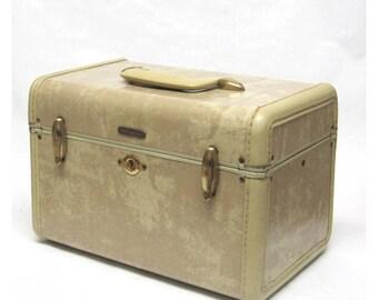 Vintage 1940s Samsonite by Shwayder Bros beige marbled train case
