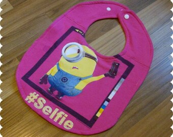 Minion #Selfie Baby Bib, Recycled T-Shirt Baby Bib, Baby Girl Gift, Baby Shower Gift, New Baby Gift