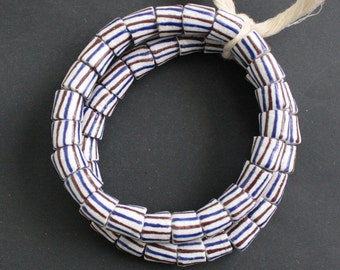 African Beads, Ghana Recycled Glass Chunky Tubes, 11 mm, Handmade White & Stripey for Jewellery and Crafts 1 Strand, Very Nice