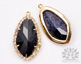 FS100-CG-SGP// Crystal Gold Framed Sparkling Purple Galaxy Glass Stone Pendant, 1Pcs