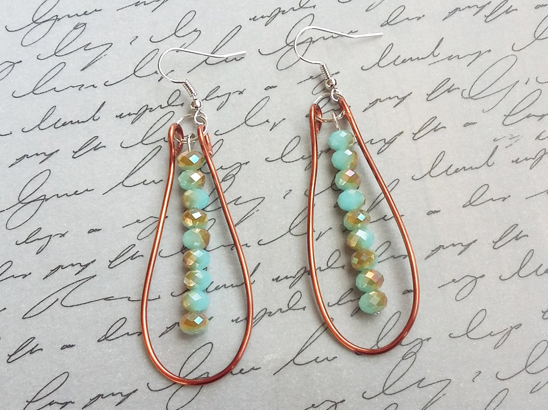 Copper Wire Earrings Copper Wire Jewelry Turquoise Earrings