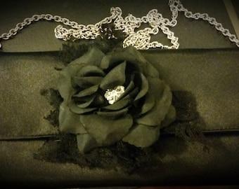 Handmade Black Dahlia Clutch Purse