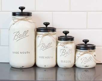 Set of 4 Mason Jar Canisters