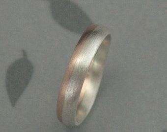 Bimetal Wedding Band--Solid 14K Rose Gold and Silver Rounded Wedding Band--Two Tone Wedding Ring--4mm Modern Wedding Ring