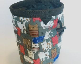 Chalk bag, Cats, Climbing Chalk Bag, Bouldering, Rock Climbing Chalk bag, Chalkbag, Climbing Gear, Gray